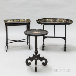 Three Gilt and Painted Black Lacquered Stands