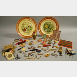 Pair of Adams Transfer-decorated Dickens Pickwick Papers Series Ware Plaques with a Varied Assortment of Other Items