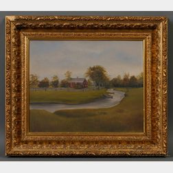 """American School, 19th Century      """"The Old True Homestead in Chester."""""""