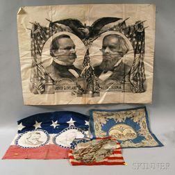 Three Presidential Campaign Textiles and a 1893 World's Fair Souvenir Handkerchief