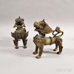 Pair of Bronze Guardian Lions