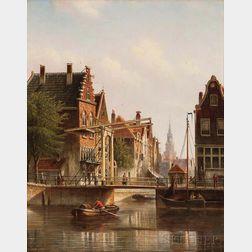 Johannes Franciscus Spohler (Dutch, 1853-1894)      Quiet Amsterdam Canal