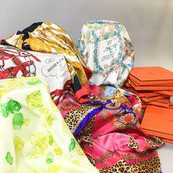 Nine Hermes Silk Scarves