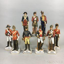 Nine English Porcelain Soldier Figures