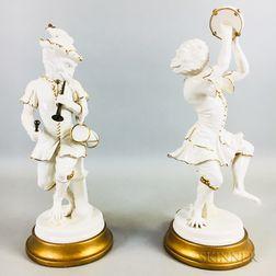 Pair of Continental Porcelain Monkey Musicians