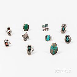 Ten Navajo Silver Rings
