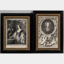 Eight Framed Engraved Portraits of Illustrious Persons
