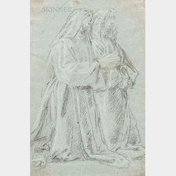 French School, 17th Century      Two Nuns Kneeling in Prayer.