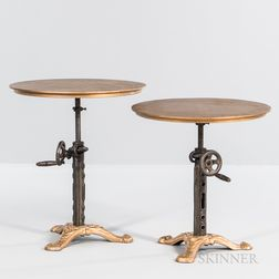 Pair of Gold-painted Cast Iron Adjustable Side Tables