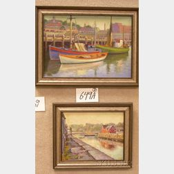 Two Framed Oil on Board Harbor Scenes