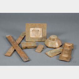 "Seven Tiffany Studios ""Zodiac"" Pattern Metalwork Desk Items"