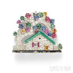 "Platinum Gem-set ""House"" Brooch, Raymond Yard"