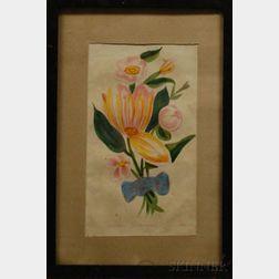 Framed 19th Century Hand-colored Floral Specimen Plate Magnolia-Geranium-Pear