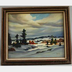 John Cuthbert Hare (American, 1908-1978)      Winter Landscape.