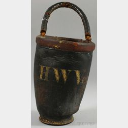 """19th Century Painted Leather """"HWV"""" Fire Bucket with Handle"""