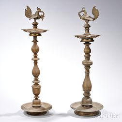 Two Brass Standing Oil Lamps