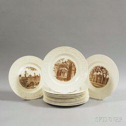Set of Thirteen Wedgwood Brown University Plates