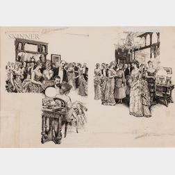 Orson Byron Lowell (American, 1871-1956)      A Social Gathering
