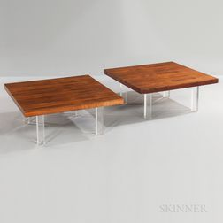Two Milo Baughman for Thayer Coggin Rosewood Coffee Tables
