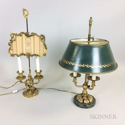 Two French-style Brass Lamps