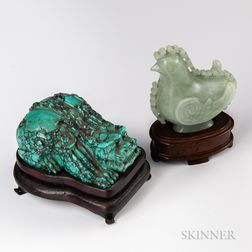 Carved Turquoise Mythical Beast and Jade Rooster