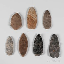 Seven Prehistoric Points and Cutting Tools