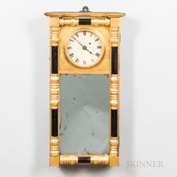 Gilt-gesso and Black-painted Mirror Timepiece