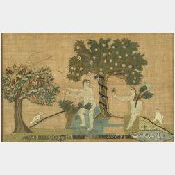 Adam and Eve Needlework Picture