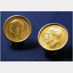 18kt Gold Coin Earclips