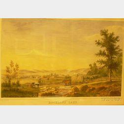 Framed Hand-colored Lithograph Landscape Entitled Rockland Lake