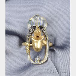 Art Nouveau 18kt Gold and Enamel Jack-in-the-Pulpit Ring