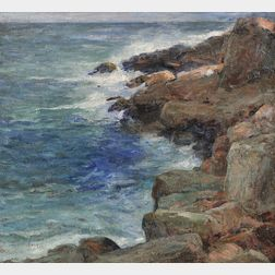 Charles Paul Gruppe (American, 1860-1940)      Incoming Tide at Bass Rocks, Mass.