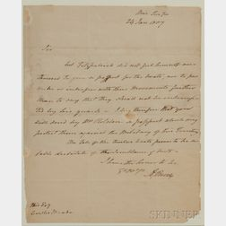 Burr, Aaron (1756-1836) Letter Signed, 24 January 1807.