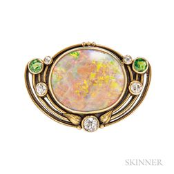 Arts and Crafts Gold, Opal, and Demantoid Garnet Brooch