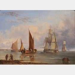 John Westall (British, fl. 1840-1880)      Ships in Port