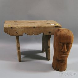 Carved Wooden Head of a Man and a Stool