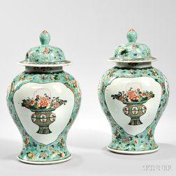 Pair of Famille Verte Covered Jars