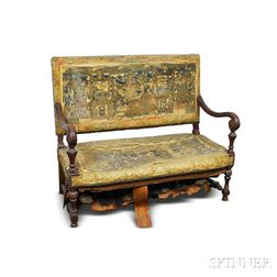 Baroque-style Carved Oak Upholstered Settee