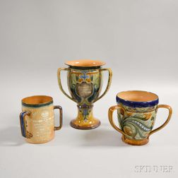Three Doulton Stoneware and Ceramic Presentation Loving Cups