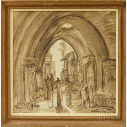 Andre Elbaz (Moroccan, b. 1934)      Under the Arcade