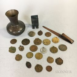 Three Roycroft Hammered Copper Items and a Small Group of Medals