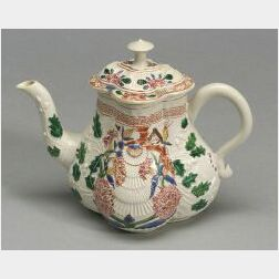 Staffordshire White Saltglaze Enamel Decorated Teapot and Cover
