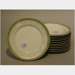 Set of Eleven Limoges Porcelain Luncheon Plates.