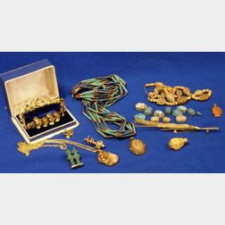 Group of Egyptian and Greek Gold Mounted and Costume Jewelry