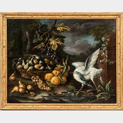 Northern European School, 17th Century Style      Fruit Still Life in a Landscape with a Wading Bird