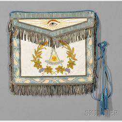 Embroidered Silk and Kidskin Masonic Apron