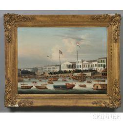 China Trade School, 1830-1835      The Waterfront Hongs at Canton, China.