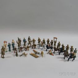Forty-five Painted Cast Iron Mostly WWI U.S. Military Figures and Figural Groups