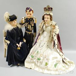 Three Large Wax Dolls, Queen Elizabeth II, Prince Phillip, and the Queen Mum