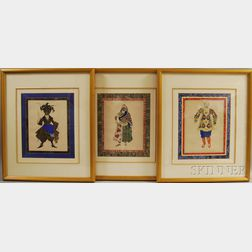 After Leon Samoilovitch Bakst (Russian/American, 1866-1924)      Three Framed Theatrical Costume Designs.
